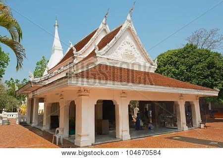 Exterior of the Phra That Si Song Rak temple in Loei, Thailand.