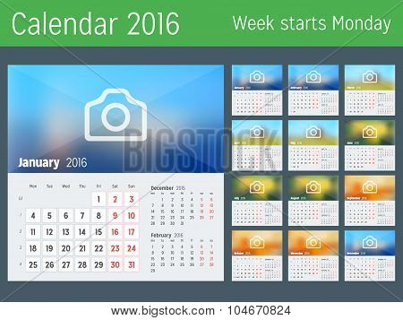 Desk Calendar For 2016 Year. Vector Design Print Template With Place For Photo. Week Starts Monday.