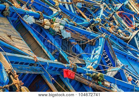 Blue boats in Essaouira port, Morocco