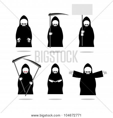 Set Deaths In Overalls. Grim Reaper In Different Poses. Skeleton In Cloak With  Scythe. Death In Bla