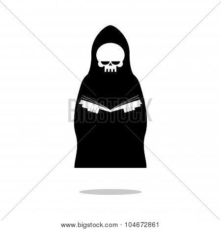 Death Of Reading Book. Grim Reaper In Black Cloak Is Reading  Bible.