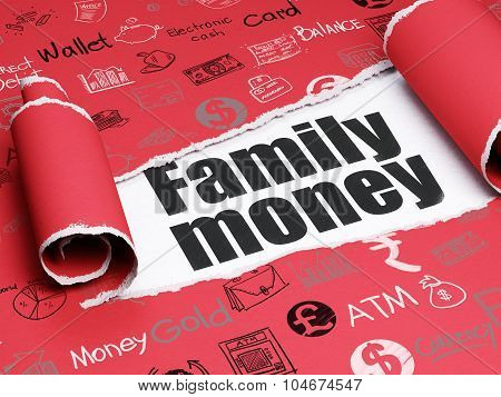 Money concept: black text Family Money under the piece of  torn paper