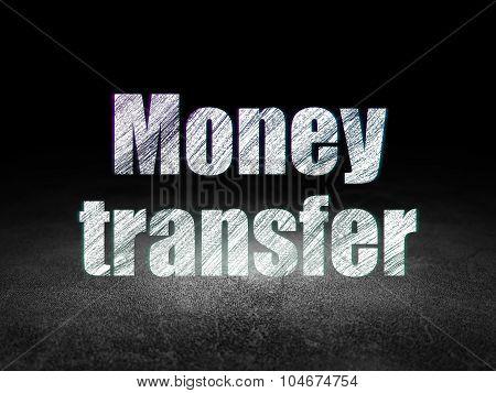 Banking concept: Money Transfer in grunge dark room