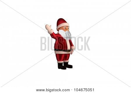 Waving santa claus cartoon on white background