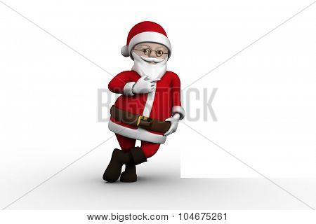 Cute cartoon santa claus on white background
