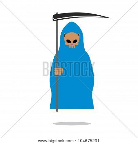 Death Skull Cat In Blue Cloak. Grim Reaper Pets With Scythe.