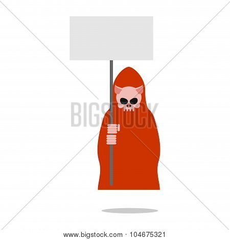 Pig Death In Red Clothes Holding An Empty Plate.  Grim Reaper For Farm Animals. Illustration For Hal