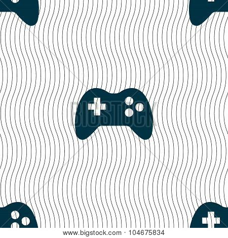 Joystick Sign Icon. Video Game Symbol. Seamless Pattern With Geometric Texture. Vector