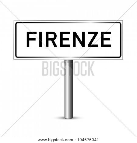 Florence Italy - city road sign - signage board