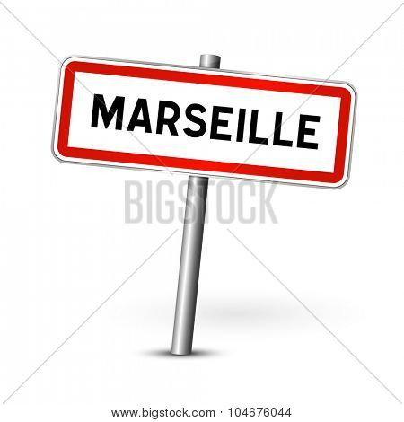 Marseille France - city road sign - signage board