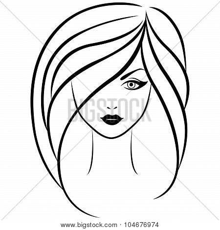 Abstract Outline Portrait Of Young Girl