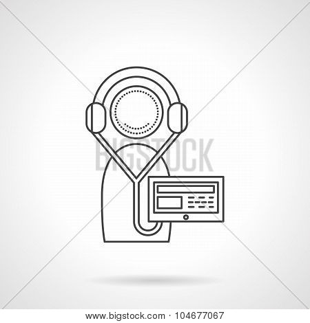 Online courses recording line vector icon
