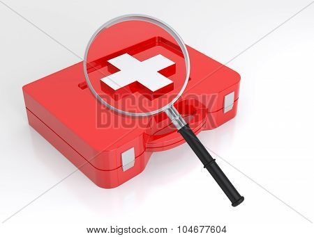 First Aid Case And Magnifying Glass