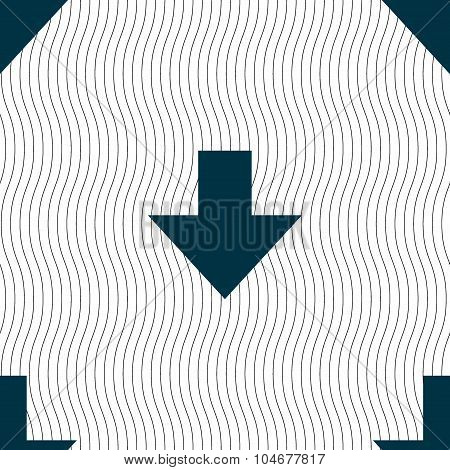 Download Sign. Downloading Flat Icon. Load Label. Seamless Pattern With Geometric Texture. Vector