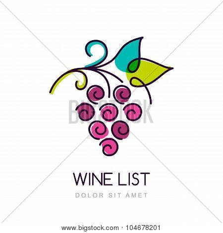 Vector Colorful Grape Vine Logo Design Template. Concept For Organic Products, Harvest, Healthy Food