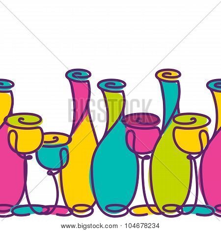Vector Seamless Horizontal Background Template With Multicolor Wine Bottles And Glasses Isolated On