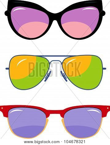 Vector set of colorful modern sun glasses.