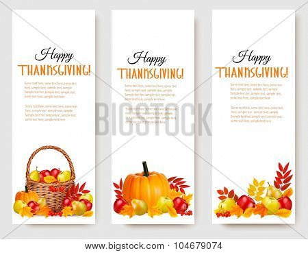 Three Happy Thanksgiving Banners. Vector.