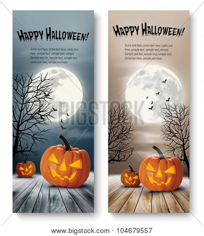 Holiday Halloween Banners with Pumpkins and Moon. Vector