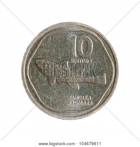 Coin Ten Cents Philippines Isolated On White Background. Top View.