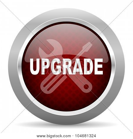 upgrade red glossy web icon