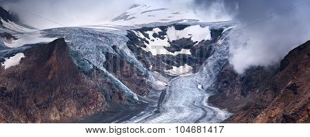 Pasterze glacier and snow in high alpine mountains