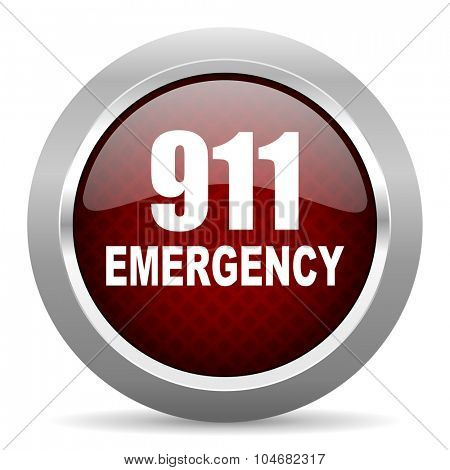 number emergency 911 red glossy web icon