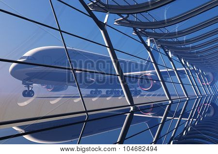 Passenger plane in the airport.