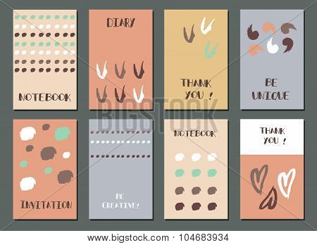 Set Of  Modern Hipster Trendy  Hand Drawn Card.