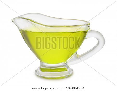 Gravy boat of olive oil isolated on white