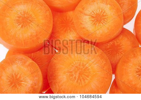 Slices Of Carrot Isolated On White Background