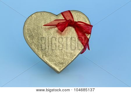 a box for a gift in the form of a heart. photo icon for valentine's day, anniversary, engagement.