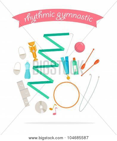 Set of rhythmic gymnastic elements.