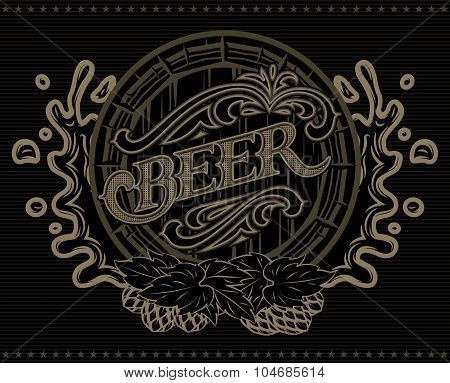 Template With A Barrel Of Beer Advertising Poster Menu