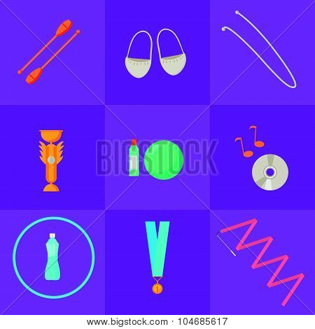 Vector set of rhythmic gymnastic elements.
