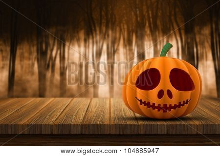 3D render of a Halloween pumpkin on a wooden table with a defocussed foggy forest in the background
