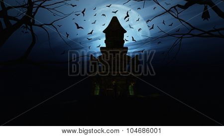 3D render of a Halloween background with spooky castle and bats