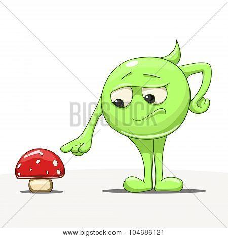 Cartoon character with mushroom vector