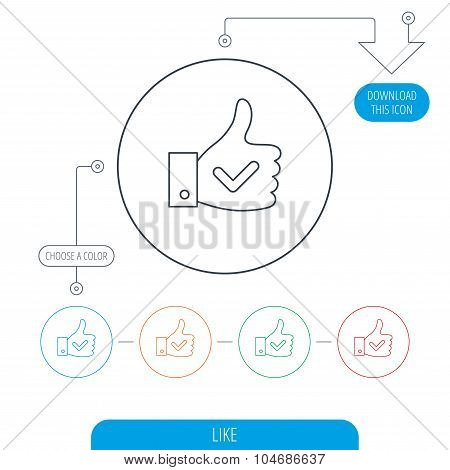Thumb up like icon. Super cool vote sign.