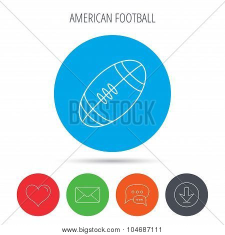 American football icon. Sport ball sign.
