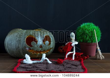 Toy Mummies And Jack-o'-lantern.