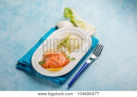 salmon carpaccio with sliced fennel salad