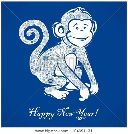 Funny Monkey On Blue Background