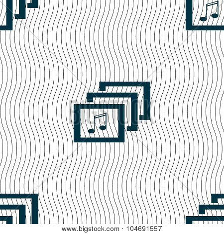 Mp3 Music Format Sign Icon. Musical Symbol. Seamless Pattern With Geometric Texture. Vector