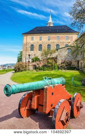 Old green bronze cannon, Akershus Castle, Oslo