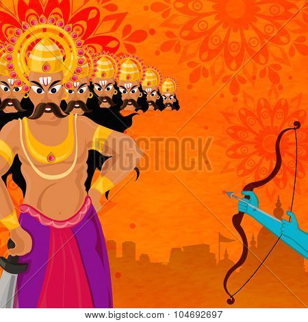 Indian festival, Happy Dussehra celebration with illustration of Lord Rama's hand taking aim towards Ravana on floral design decorated background.