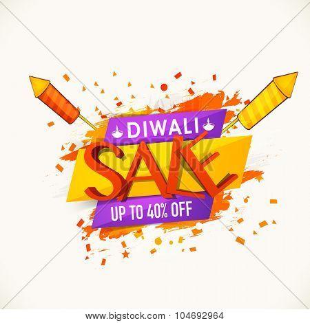 Stylish Sale poster, banner or flyer design with 40% discount offer for Indian Festival, Diwali celebration.