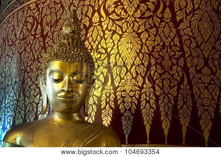Face Of Golden Buddha In Wat Panan Choeng,Ayutthaya,Thailand.