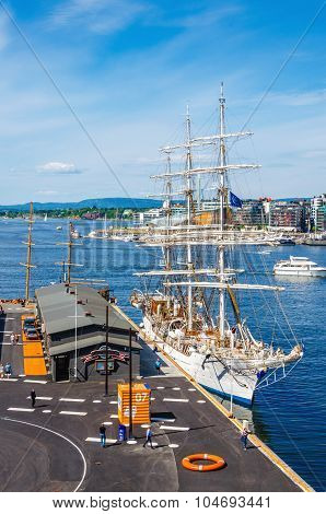 Beautiful white sailing ship in Oslo Fjord, Norway