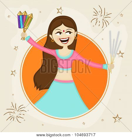 Beautiful young girl holding firecrackers and enjoying on occasion of Indian Festival of Lights, Happy Diwali celebration.